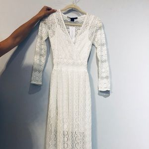 NWT French Connection off white lace dress w slip